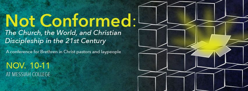 "Banner for the 2016 Sider Institute study conference on ""Not Conformed: The Church, the World, and Christian Discipleship in the 21st Century."""