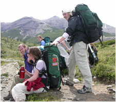 Students backpacking