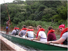 Students on a boat tour