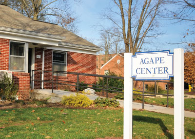 Agape Center entrance with its sign.