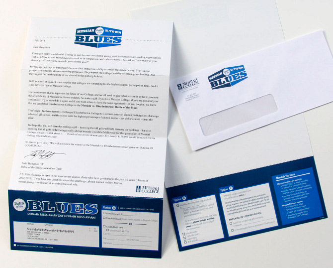 To build upon the athletic rivalry between Messiah and Elizabethtown College, the Battle of the Blues was launched. The school with the highest alumni participation during the promotion won bragging rights at the soccer game between the two schools. For this campaign, letterhead with a tear-off contribution form was designed, as well as an envelope, postcards, a Facebook icon, eblasts and ads.
