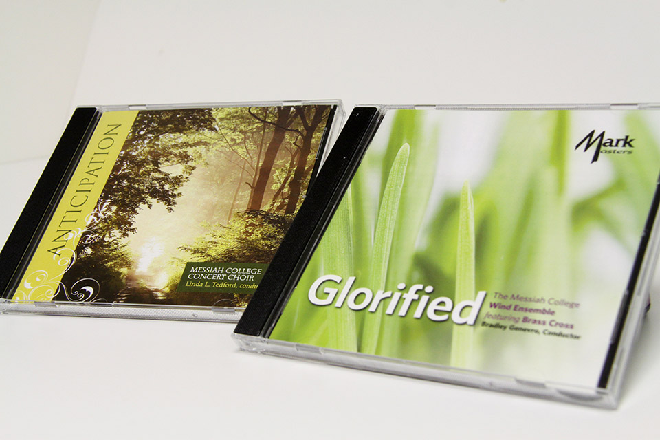 Designed in connection with Messiah College Music Department, these CDs feature the music of the College Concert Choir and Wind Ensemble. The design complements the style of music on the CDs.