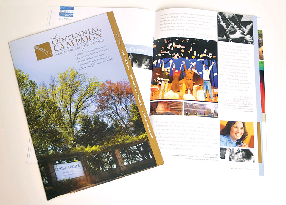 This award-winning, 8 by 12 inch, 16-page booklet announced and described the 2010 Centennial campaign to raise funds for the construction of the Calvin and Janet High Center for Worship and Performing Arts. The cover was coated with a soft touch varnish for a velvety, fingerprint-less feel and included a folder flap on the inside back cover. Metallic gold spot ink was used throughout to accent important concepts. This piece won a 2010 Graphic Design USA award for in-house design.
