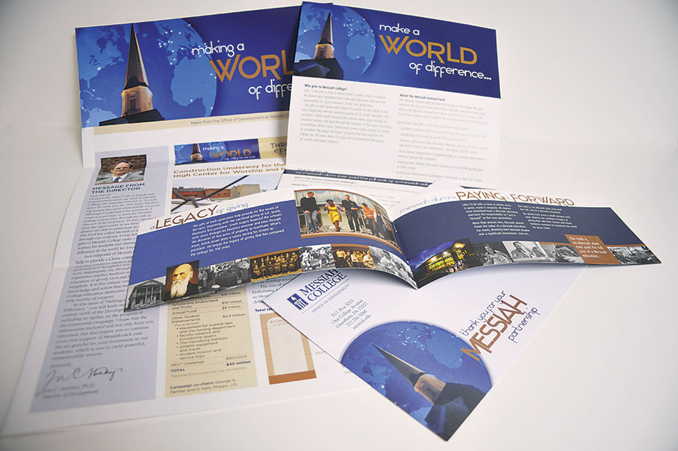 These award-winning pieces shaped the 2010 development campaign highlighting how gifts to the College made a difference in the lives of our students. The campaign began with an introductory postcard with an attached magnet with follow-up pieces that included a mailer, envelopes, postcards, an eight-page booklet and an oversized newsletter. This campaign won a 2011 Bronze CUPPIE award for development publications from CUPRAP, the Association of Communicators in Education.