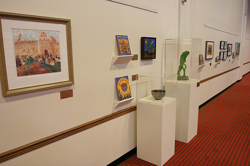 Artworks and sculptures at the Murray Library.
