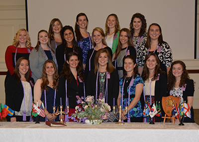 Group picture of female students involved in student organizations.