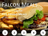 A coupon for five combo meals at the Falcon.
