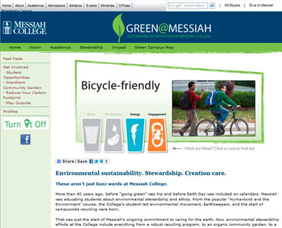 Green @ Messiah , the college`s sustainability website, shows a slight variation from the standard Messiah College template design.