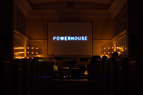 A picture of the stage before Powerhouse performance.