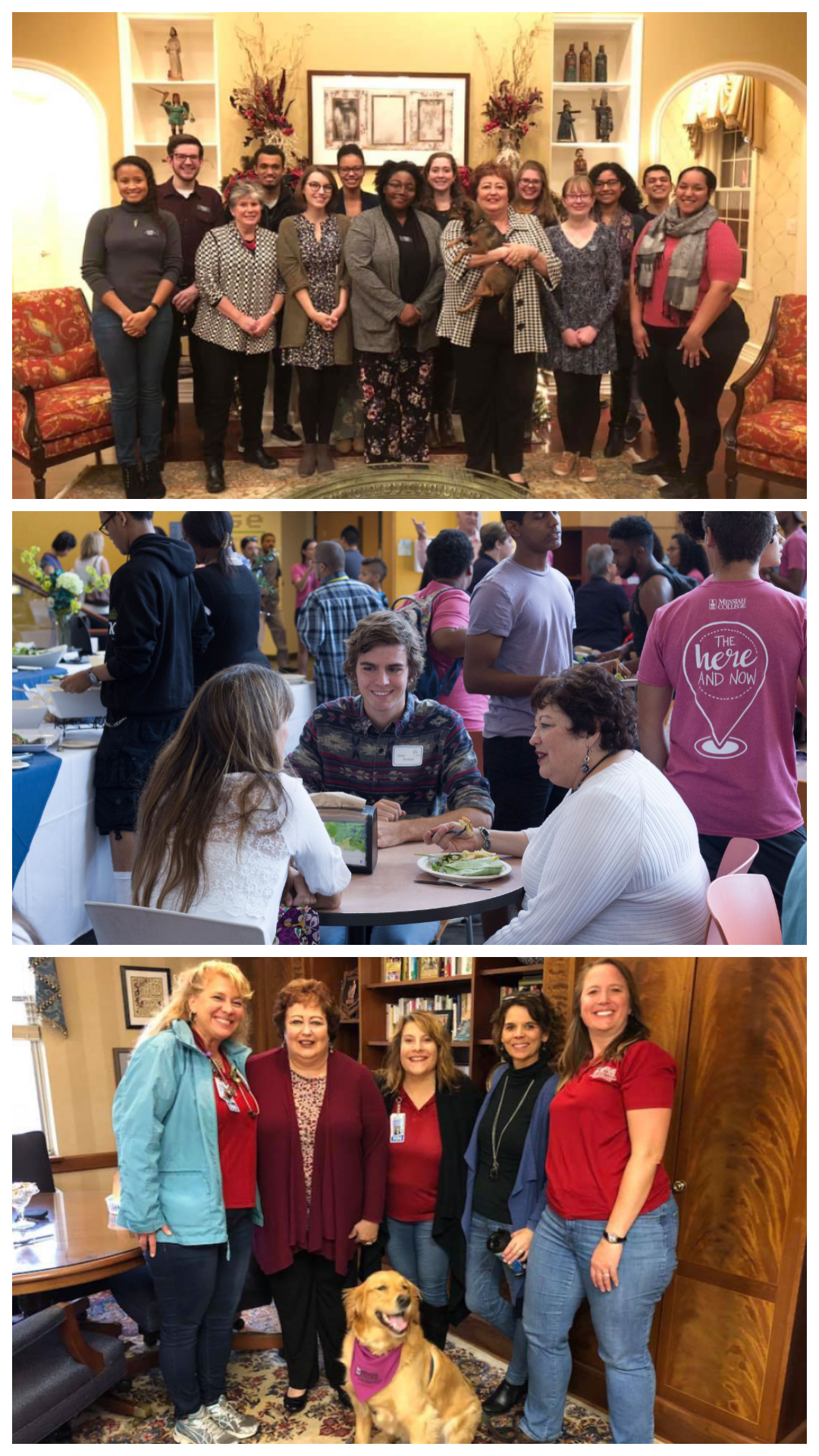 Photo collage of President Phipps with faculty and students