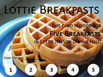 An image of a coupon for five Lottie breakfasts.