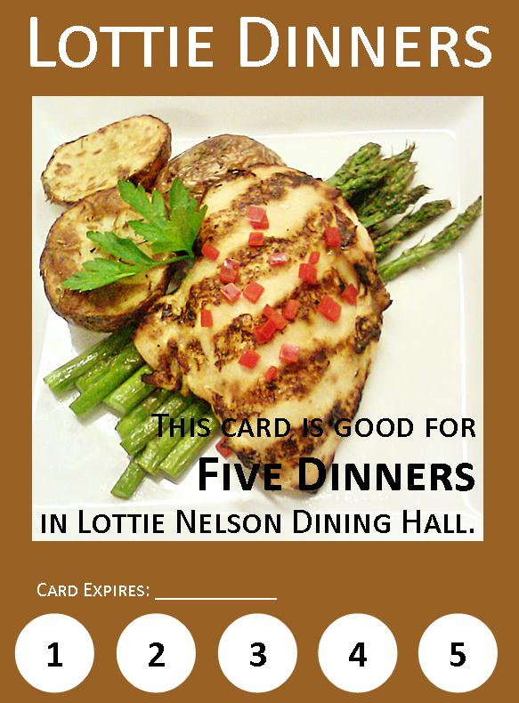 A coupon for five Lottie dinners.