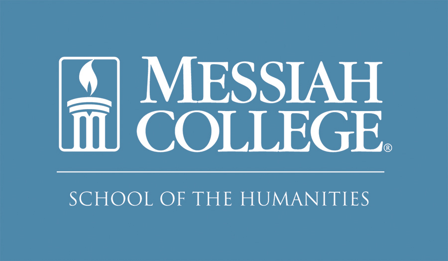 Light blue logo for Messiah College's school of humanities.