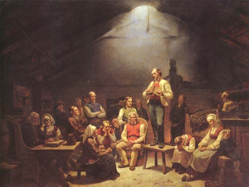 A group of people gather in a circle for a small, intimate religious meeting. This is a depiction of a Pietist conventicle, or small group meeting, by the Norwegian painter Adolph Tidemand. (WikiMedia Commons)