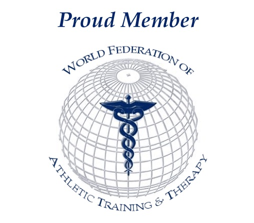 "A logo that says ""Proud member world federation of athletic training and therapy."""