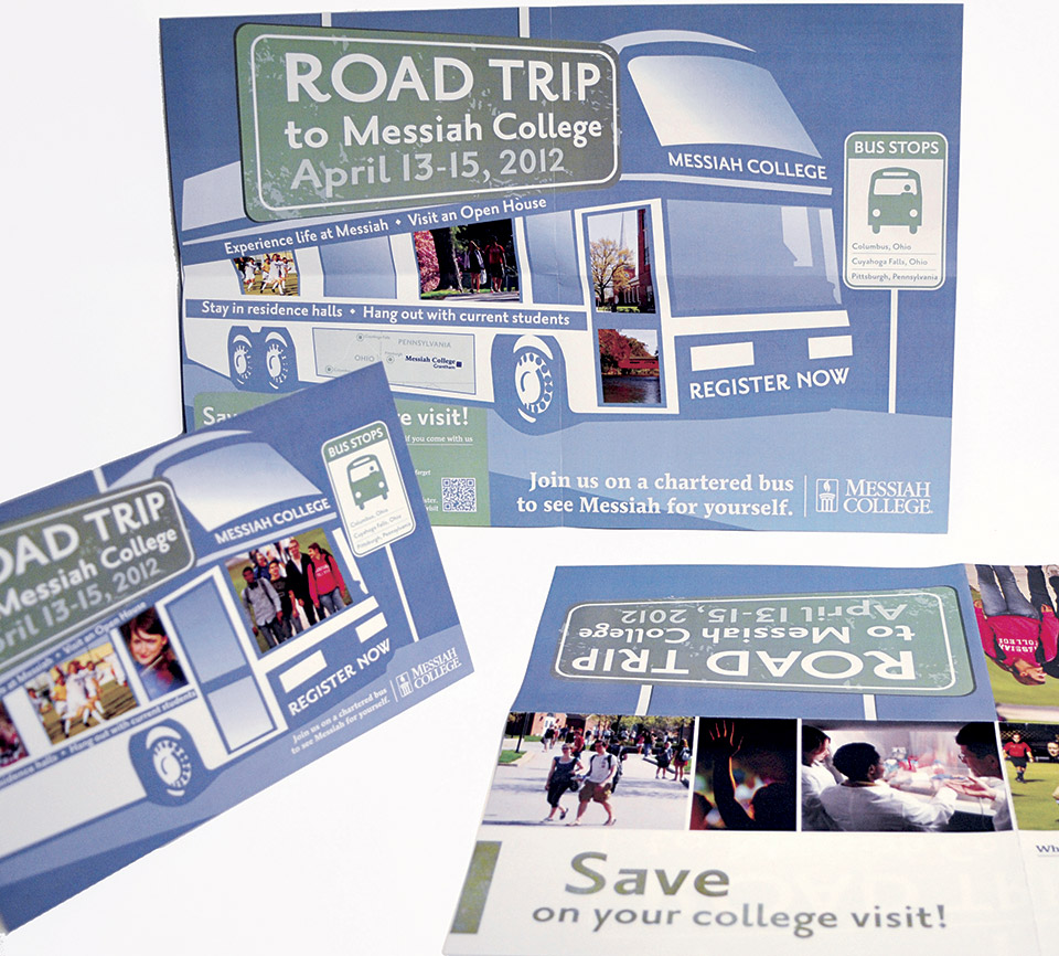 This poster, along with a coordinating postcard, was used to recruit high school students from Ohio and western Pennsylvania, to encourage them to visit Messiah College and see the campus via a bus trip. The 11 by 17-inch poster folded to 5 by 7 inches for ease of mailing to high school guidance offices.
