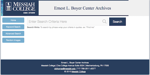 A screenshot of the Boyer Center Archives online database