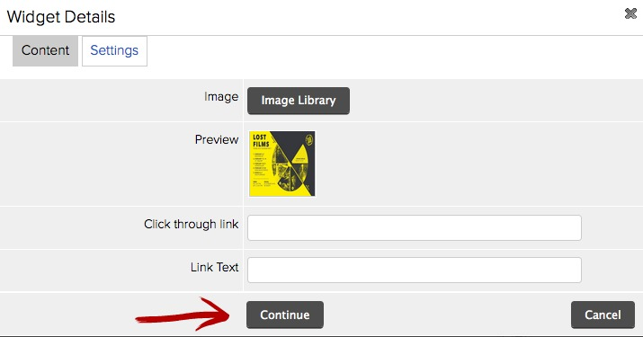 continue image widget