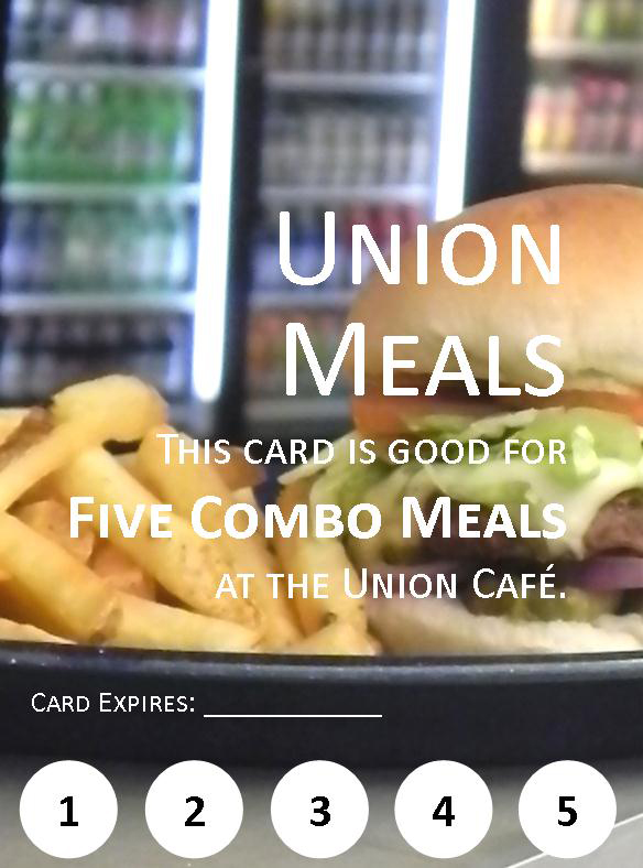 A coupon for five combo meals at the Union.