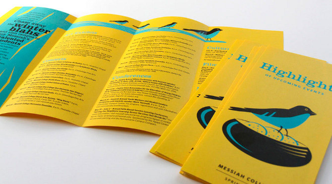 This bi-annual self-mailer brochure highlights upcoming public events at Messiah College. It is a tri-fold with a final size of 4 by 9 inches. This particular piece is for spring 2012.