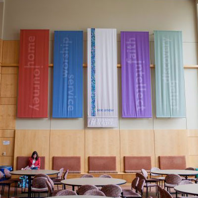 Banners at the Boyer atrium hanging from the roof.