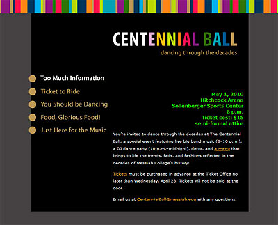Centennial Ball website: a collaborative project between design, web and special events.