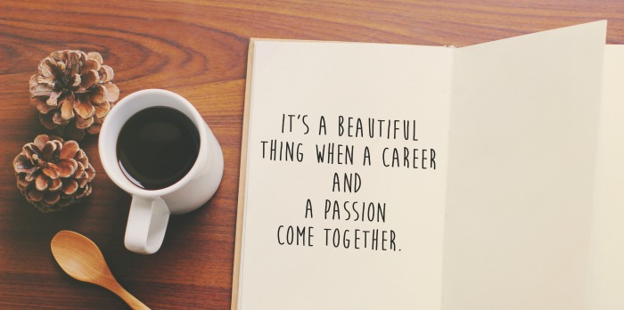 Book with text about career meeting passion