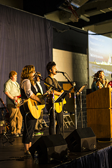 Students performing during chapel.
