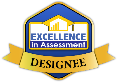 "A badge saying ""Excellence in Assessment Designee."""