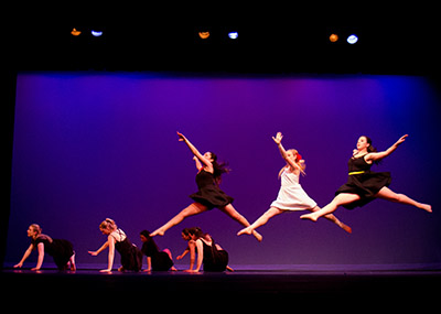 A group of Messiah University students performing a contemporary dance.