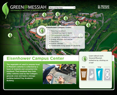 Green @ Messiah Campus Map: javascript driven : Special Project. This interactive map includes locations , highlighting sustainability initiatives on campus.
