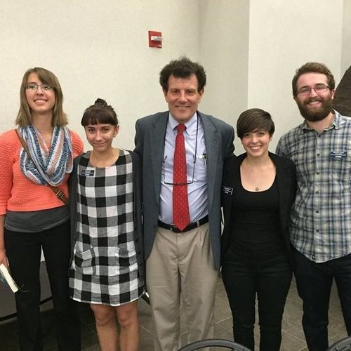 Nicholas Kristof (A Path Appears, Half the Sky) with student fellows following his 2015 American Democracy Lecture at Messiah College