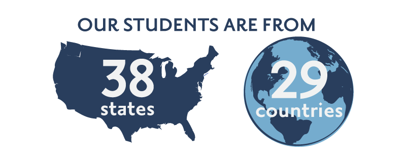 Our students are from 38 states, 29 countries.